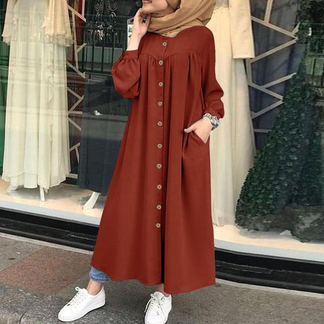 Plus Size Muslim Dresses 2020 Woman Shirt Dress Long Sleeve Maxi Vestidos Female Button Robe High Wasit Solid Sundress 3