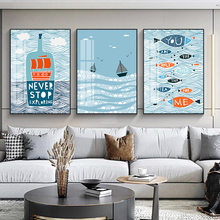Anime Living Room Decor Painting Nordic Creative Whale Cartoon Animal Dining Children's Bedroom Frameless Draw