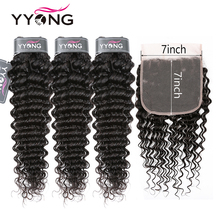 Yyong Malaysian Deep Wave Bundles With 7x7 Lace Closure Human Hair Remy 8-30 inch Bundle Frontal