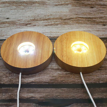 Smart Home New Wood Light Base Rechargeable Wooden LED Light Rotating Display Stand