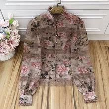 Baogarret New Spring Designer Tops Womens High Quality Stand Collar Long Sleeve Flower Print Lace Patchwork Silk Blouse