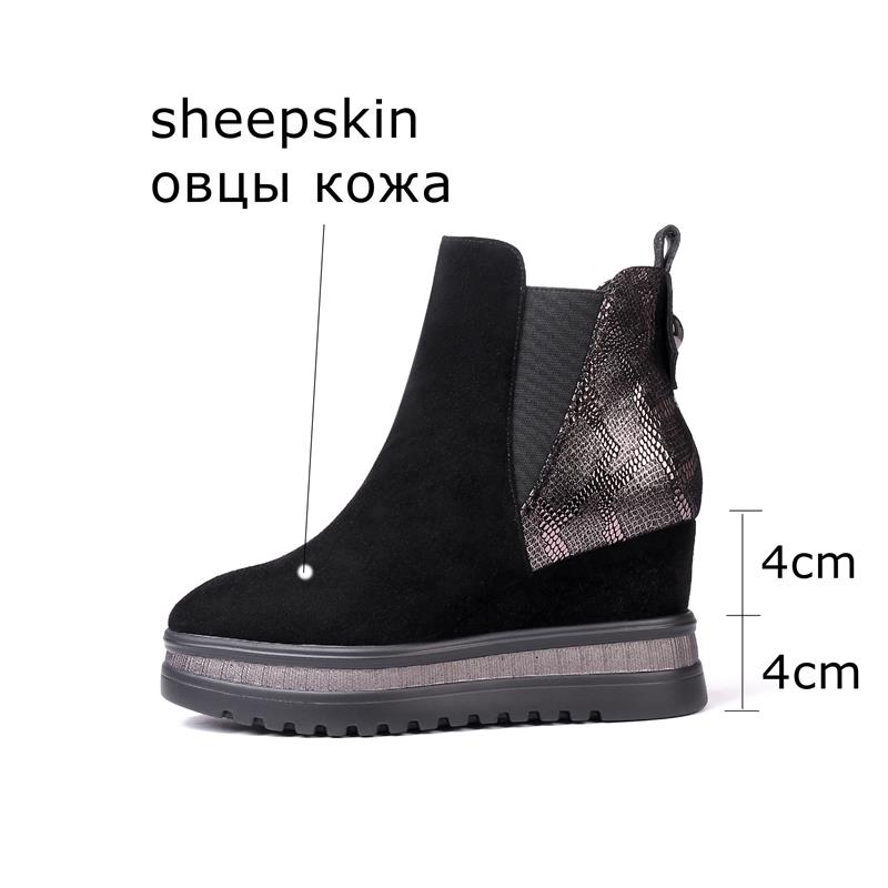 Image 2 - ALLBITEFO wedges heel genuine leather high heels ankle boots for 