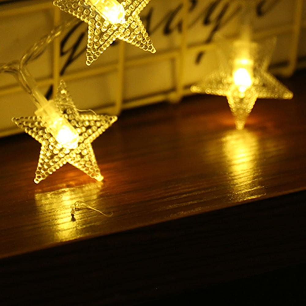 Waterproof Remote Control Holiday Starry Lights Ins Romantic Five Pointed Star Lights Led Star Lights String Decoration in Decorative Mirrors from Home Garden