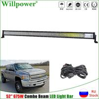 Combo Beam 7D 52inch 675W LED Work Light Bar For Jeep Truck 4x4 SUV Offroad UTV Tractor Boat Car Roof Driving Lamps w/ Wire Kit