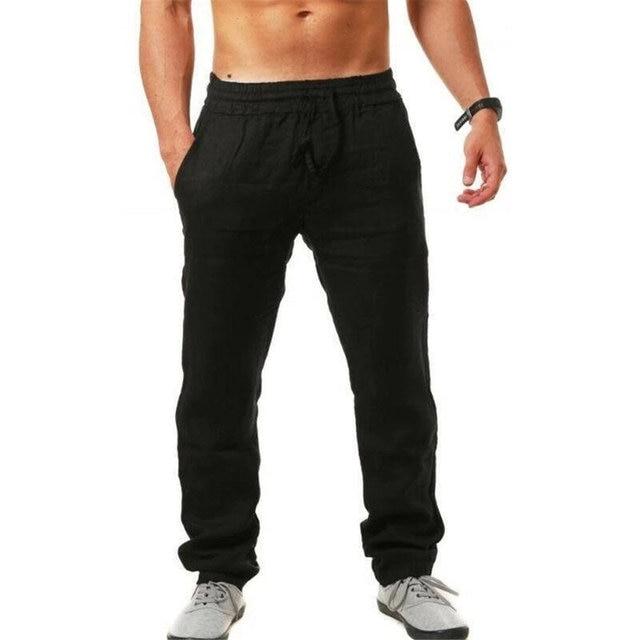 Men Casual Sports Trousers Breathable Cotton Linen Drawstring Straight Leg Pants Beach Pants K2 4