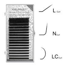 NAGARAKU LC / N onda Extensões de Cílios Falsos Falso Vison Preto Fosco 8-15 milímetros Mista Natural Macio L + maquiagem Cílios