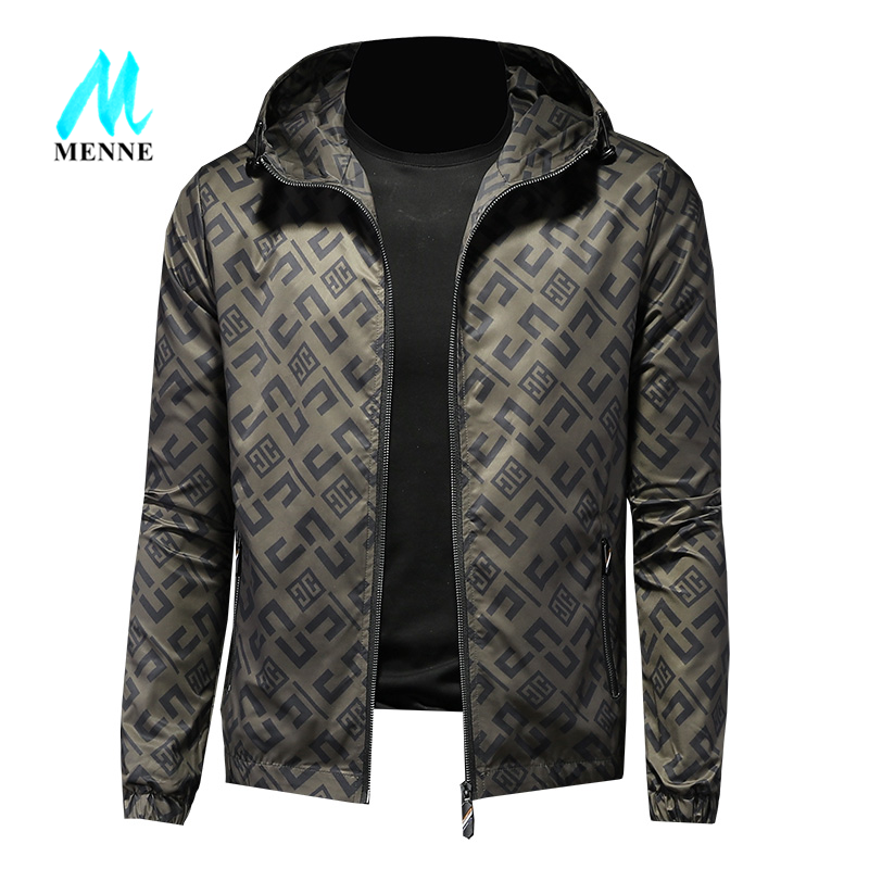 MENNE men jacket spring/autumn Casual print man's jacket hooded jacket man zipper jacket man coat|Jackets| - AliExpress