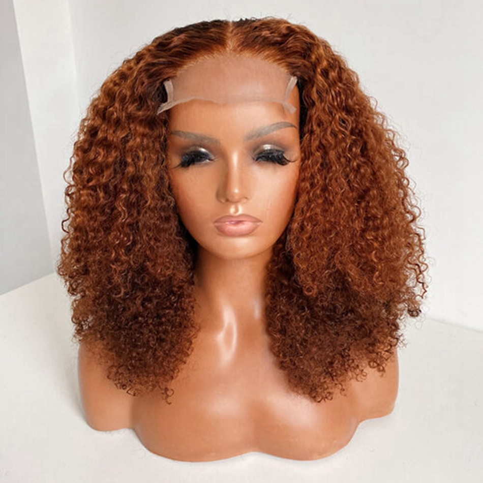 Kinky Curly Ginger Brown 180Density Brazilian Remy Human Hair Lace Front Wigs For Women 13x6 Lace Front Wigs Natural Hairline