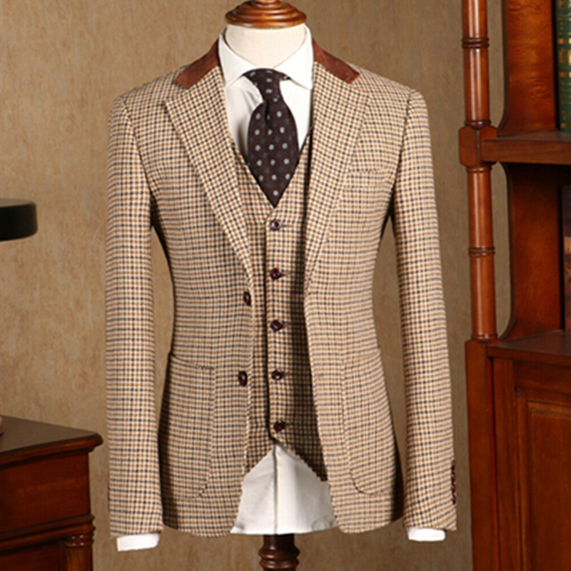 2020 Khaki Houndstooth Suits Formal Wool Blend Tweed Vintage Tuxedo Men's Two Button Notch Lapel Suits