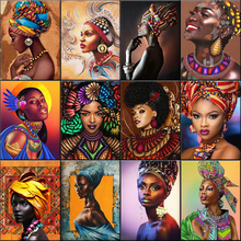 DIY Painting Acrylic-Paint Numbers-On-Canvas African Adults Coloring Handpained Woman