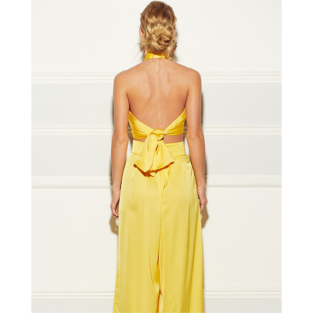 Elegant Two Piece Set Women Summer Cross Bandgae Halter Crop Top And Wide Leg Pants Outfit 3