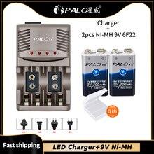 Palo 9v nimh recarregável carregador de bateria para brinquedo controle remoto ktv multímetro microfone 9v baterias