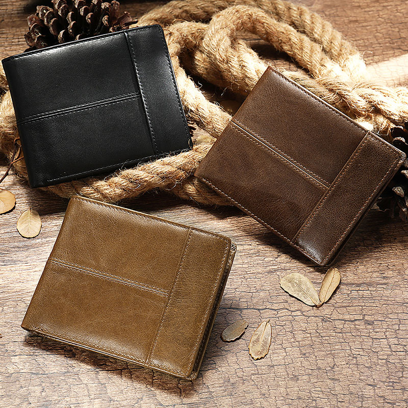 New Men's Wallet Genuine Leather Purse Holder Business Anti-Theft Credit Card Rfid Short Wallet Male Slim Coin Purse Money Bag