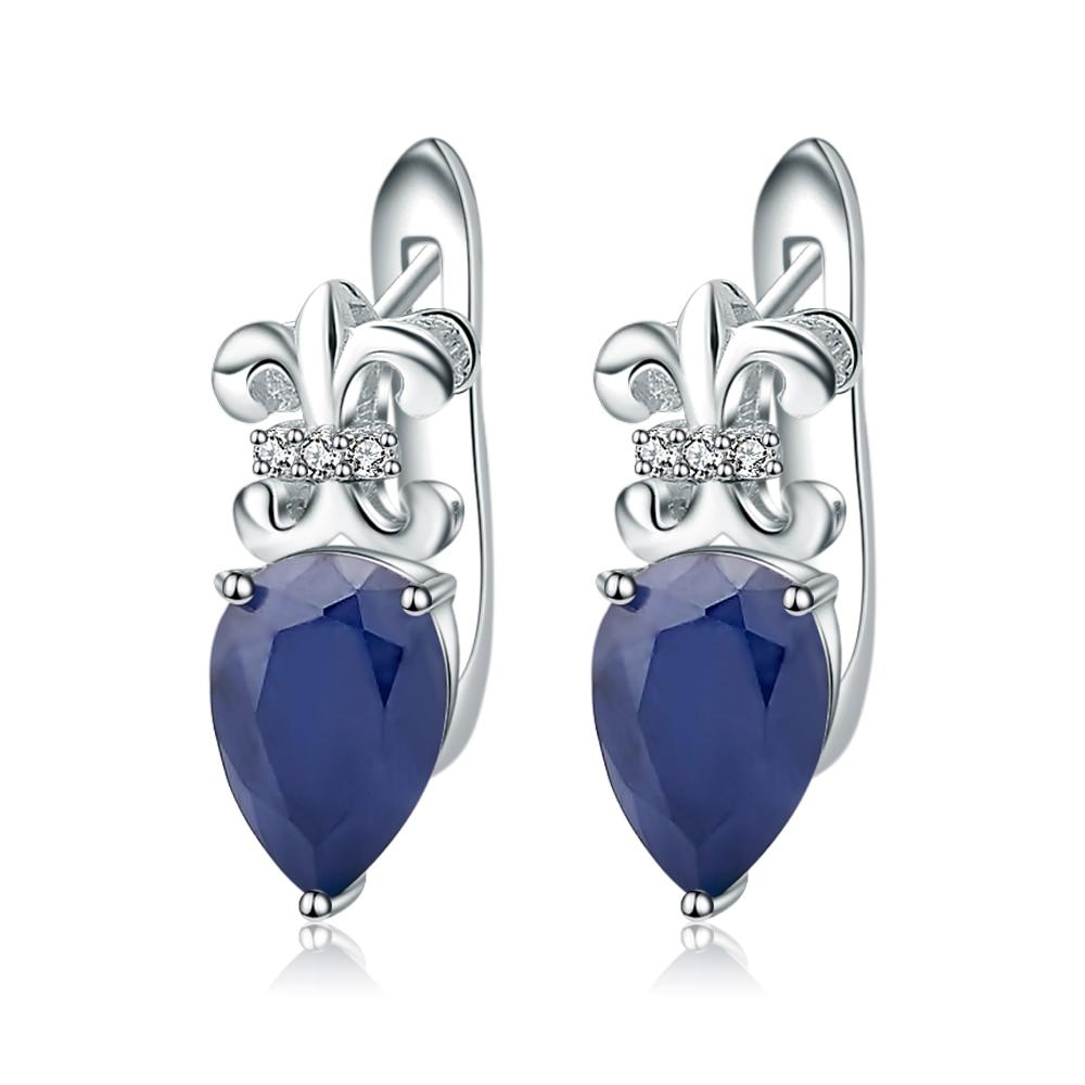 Gem's Ballet 925 Sterling Zilveren 3.47Ct Ovale Natuurlijke Blauwe Saffier Edelsteen Oorbellen Bruiloft Fijne Sieraden voor Vrouwen-in Oorbellen van Sieraden & accessoires op  Groep 1