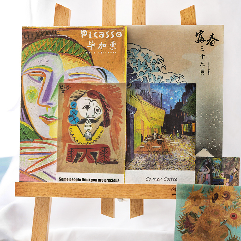 Famous Painting Art Museum Van Gogh Picasso Decorative Stickers Scrapbooking Stick Label Diary Stationery Album Stickers