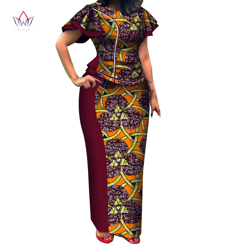 2020 Autumn Women African Clothing Top And Skirt Set O-neck Bazin Riche Short Sleeve Plus Size Evening Dress Naturl 5xl WY3712