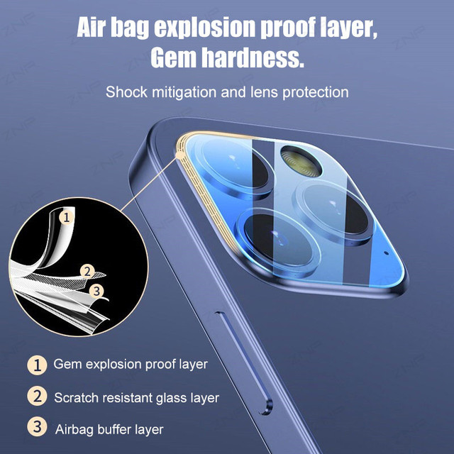 ZNP 3Pcs Camera Tempered Glass For iPhone 12 11 Pro Xs Max Lens Screen Protector On The For iPhone X XR 12 Mini Protective Film 4