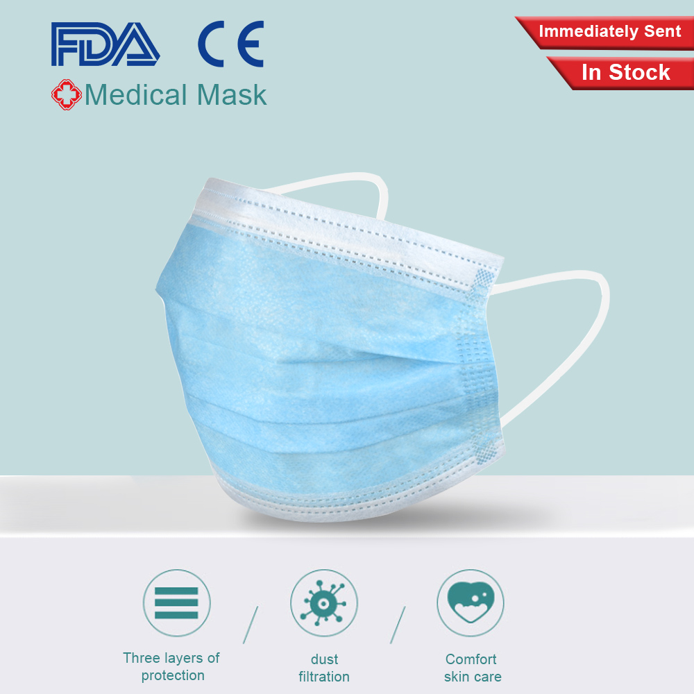 Fast Ship 50Pcs Medical Masks Safe Mouth Face Masks Non-woven Disposable Anti-Influenza Anti-Dust Adult Surgical Mask