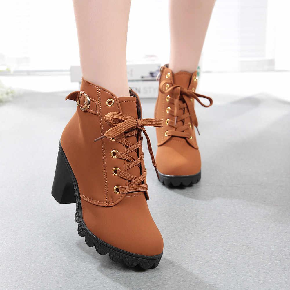 Frauen Mode High Heel Lace Up Ankle Stiefel Damen Schnalle Plattform Schuhe Mode Weibliche