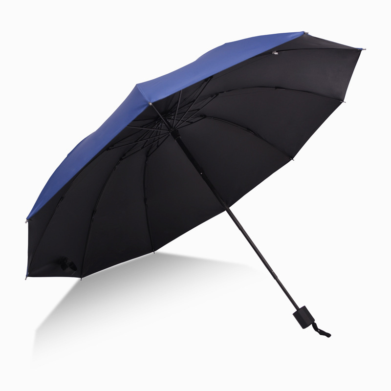 Three Fold Rain Or Shine Umbrella 10 Bone Vinyl Parasol Rain Or Shine Dual Purpose shang wu san Extra-large Reinforced Water Res