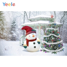 Yeele Christmas Photocall Wood Pavilion Snowman Photography Backdrops Personalized Photographic Backgrounds For Photo Studio kate gray wood backgrounds for photo studio christmas with snowman scenic photography backdrops children gingerbread background