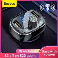 Baseus cargador de coche transmisor FM Aux modulador de manos libres Bluetooth de Audio de coche MP3 jugador 3.4A rápido Dual USB cargador de teléfono móvil