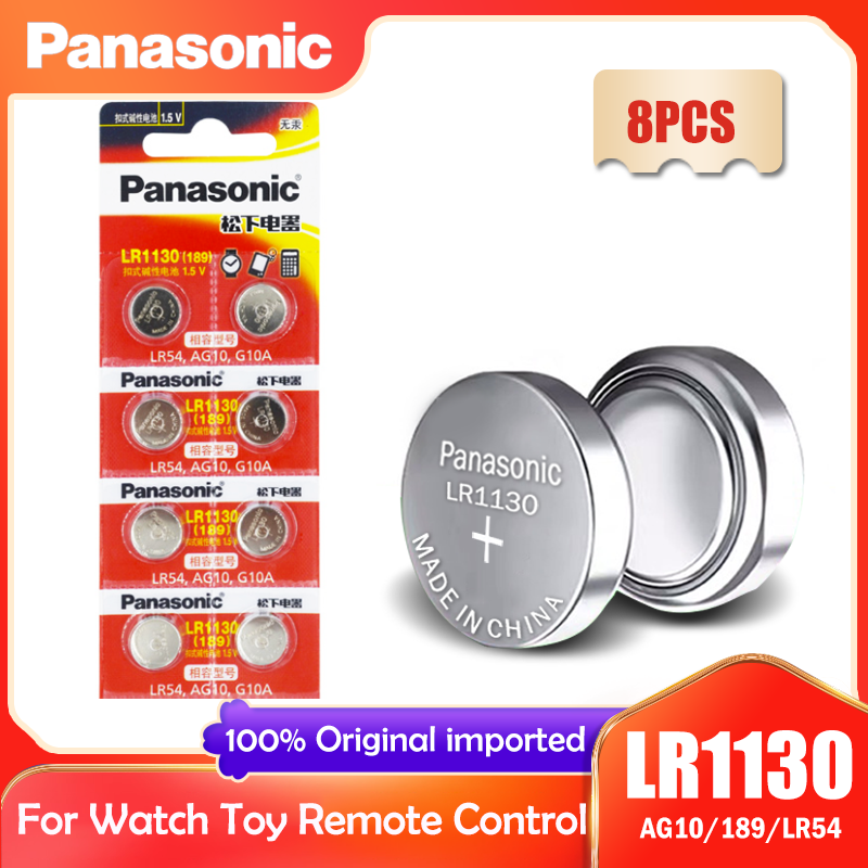 8PCS Panasonic LR1130 LR 1130 1.5V Botão de Célula tipo Moeda 189 AG10 V10GA L1131 SR1130W SR1130 389 LR54 SR54 Relógio Bateria Alcalina