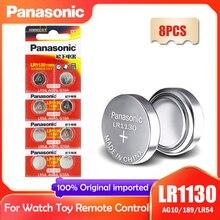 8 шт., кнопочные батарейки Panasonic LR1130 LR 1130 1,5 в, монета 189 AG10 V10GA L1131 SR1130W SR1130 389 LR54 SR54, щелочные батарейки