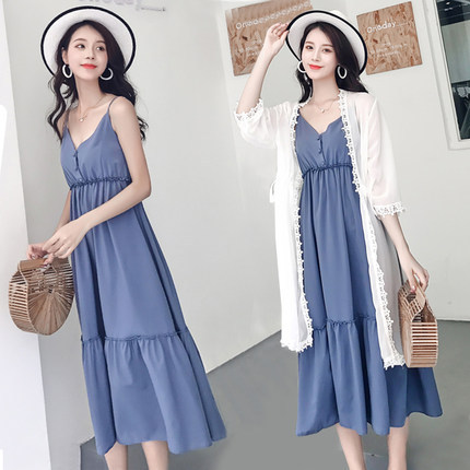 2019 Summer Wear New Style Korean-style Cover Belly Slimming Dress Women's Holiday Beach Skirt Large Size Two-Piece Set