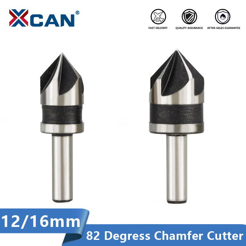 XCAN Chamfering Cutter 2pcs 12 16mm 82 Degrees Wood Metal Hole Cutter 5 Flute Hole Drill Countersink Drill Bit