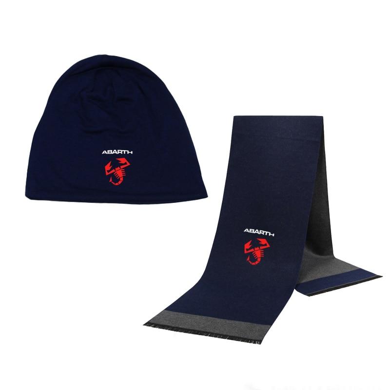 Winter Beanie Hat Abarth Car Logo Men Hat Scarf Solid Color Warm Cotton Scarf Hat Set Male Female Sports Hat Scarf Set 2 Pcs