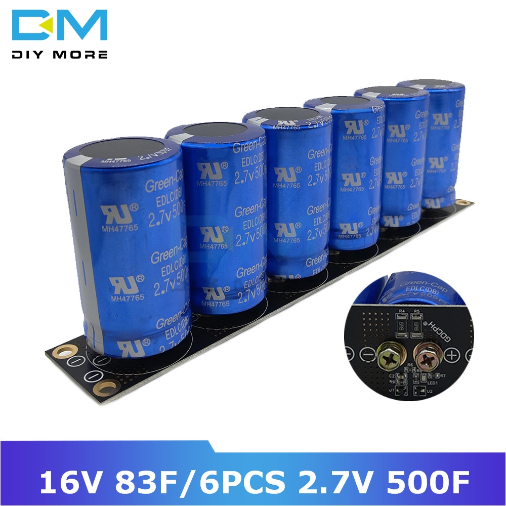 Super Farad Capacitor 16V 83F Ultracapacitor 6pcs 2.7V 500F Vehicle Rectifier Low ESR High Frequency With Protection Board