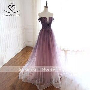 Image 4 - Romântico vestido de noite 2020 swanskirt praia fora do ombro a linha tule princesa cinto de cristal vestido de noiva noiva a263