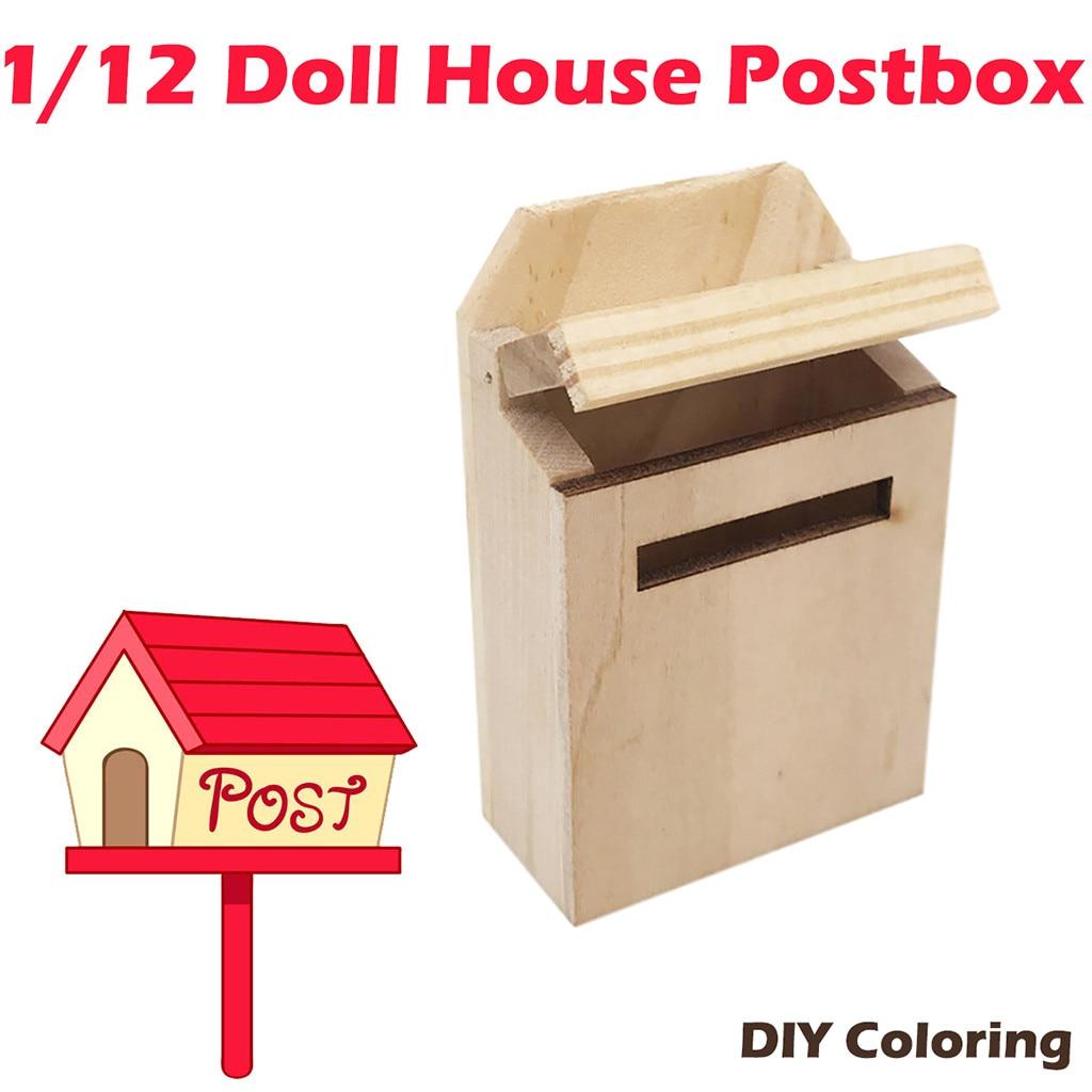 1:12 Dollhouse Miniature Furniture Accessories Mini Wood Mailbox DIY Landscape