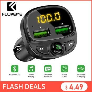 FLOVEME USB chargeur de voiture pour téléphone Bluetooth sans fil FM transmetteur lecteur MP3 double USB chargeur TF carte musique mains libres voiture Kit