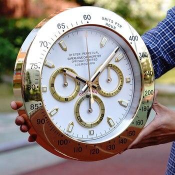 Скандинавские большие настенные часы из розового золота, металлические роскошные современные часы, настенные часы, цифровые светящиеся ча...