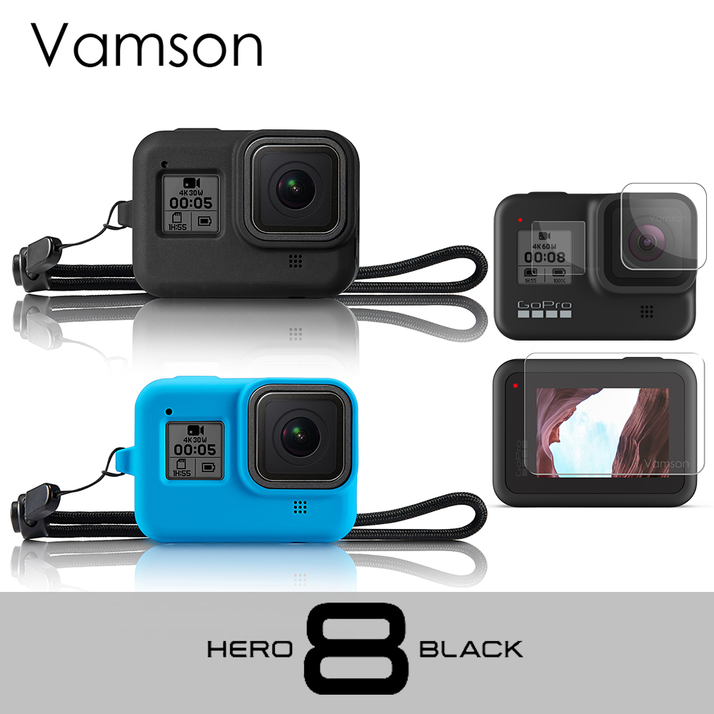 Vamson For GoPro Hero 8 Black Silicone Protective Case Lens Cap LCD Screen Protective Dust-Proof For  Gopro Accessories VP653