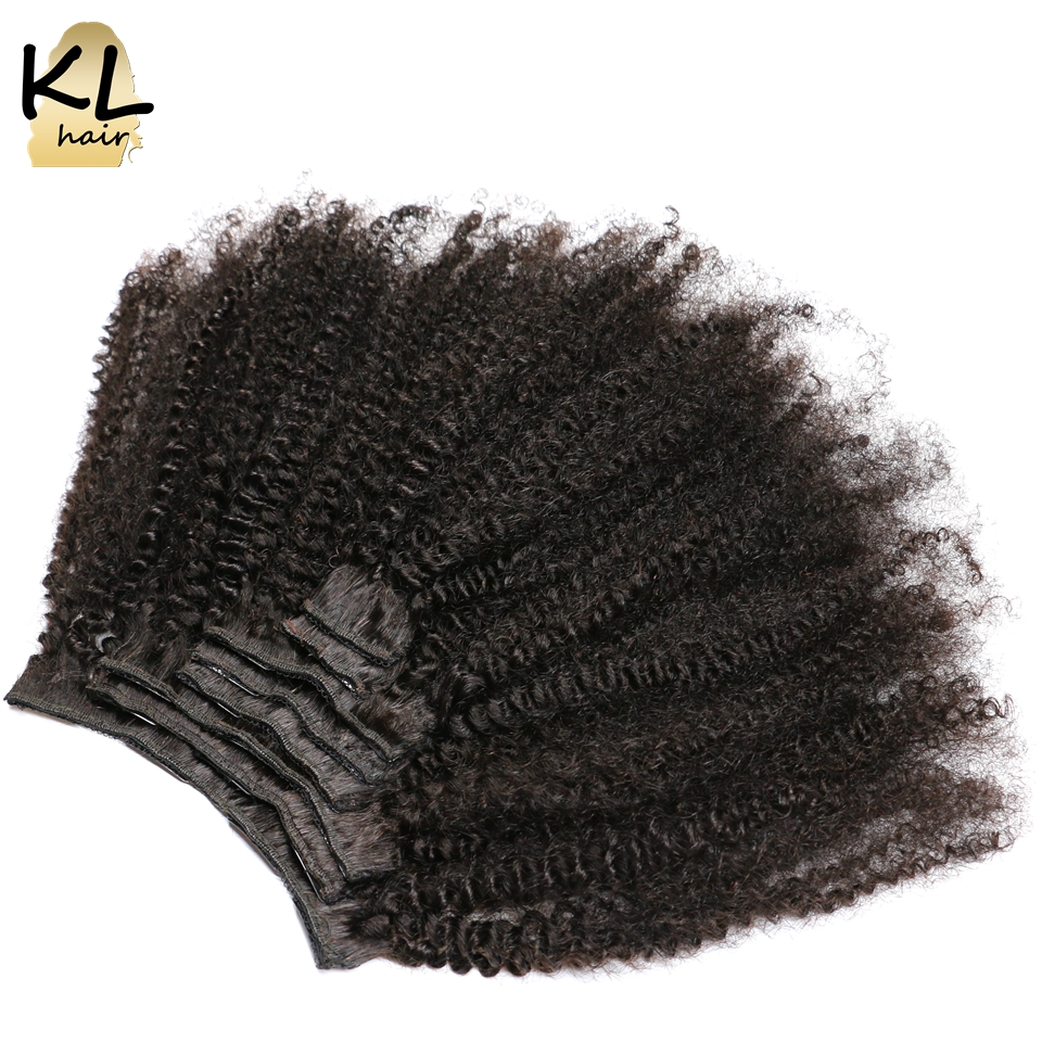 KL 4B 4C Afro Kinky Curly Clip In Human Hair Extensions 120G 8Pcs Clip Ins Natural Black Brazilian Remy Hair For Women Full Head