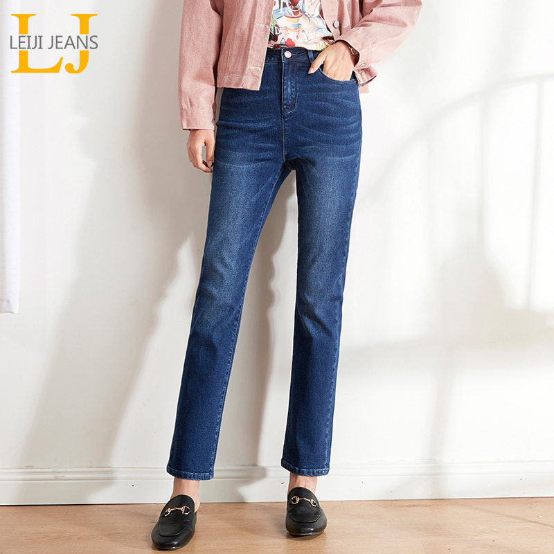 LEIJIJEANS 2019 Autumn Bule Large Size 5XL 6XL Women's Jeans High Waist Slim Straight Jeans Classic Full Casual Women Jeans 9207