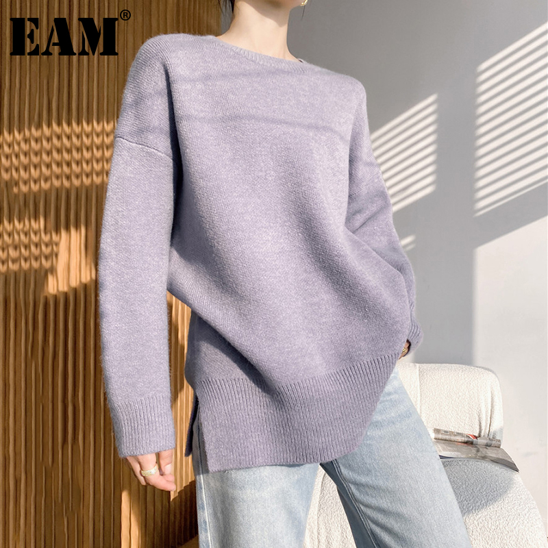 [EAM] Black Big Size Knitting Sweater Loose Fit Round Neck Long Sleeve Women Pullovers New Fashion Autumn Winter 2021 1DD5648