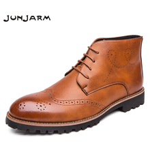 JUNJARM High Quality Genuine Leather Men Boots Fashion Ankle Riding Outdoor Working Brogue Shoes
