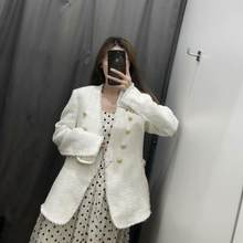2019 winter Women's casual vintage chic coat tweed jacket female double button wool outerwear women ZA style woman jackets(China)