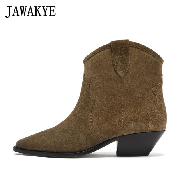 Hot Genuine Leather Suede Ankle Boots
