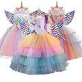 Платье-пачка для маленьких девочек с единорогом, Пастельное Радужное платье принцессы для девочек на день рождения, детское платье для вече...
