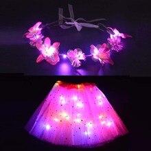 2 предмета, светодиодный светильник, Детский костюм сказочной принцессы для девочек яркая одежда для сцены светящийся цветочный венок ободок, юбка-пачка со звездами