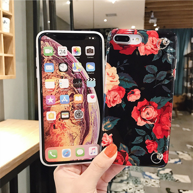 Case Cover Fashion Rose Tropical Leaves Shoulder Chain Soft tpu For iphone 11 pro max XS MAX XR X 7 8 6 6S plus
