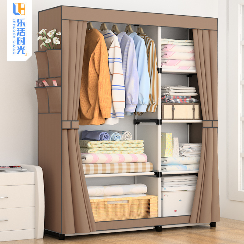Simple Wardrobe Fabric Economical Wardrobe Assembly Steel Tube Reinforced Steel Frame Minimalist Modern Economical Storage Cabin