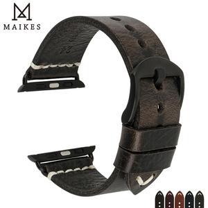 Image 1 - MAIKES Neue Ankunft Echtem Leder iWatch 44mm 40mm Uhr Band Für Apple Uhr Strap 42mm 38mm serie 4/3/2/1 Armband Armband