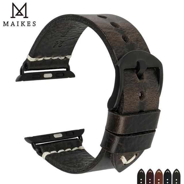 MAIKES Neue Ankunft Echtem Leder iWatch 44mm 40mm Uhr Band Für Apple Uhr Strap 42mm 38mm serie 4/3/2/1 Armband Armband