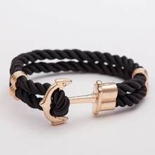 Men Double-Deck Boat Anchor Weave Chain Leather Bracelets Black Rope Gold Anchor